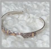 Винтажный браслет, серебра 925, вставки золото 22к Москва