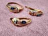 Элегантный комплект серьги + кольцо (золото 585, сапфиры, бриллианты)