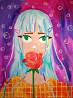 Девушка аниме с розой